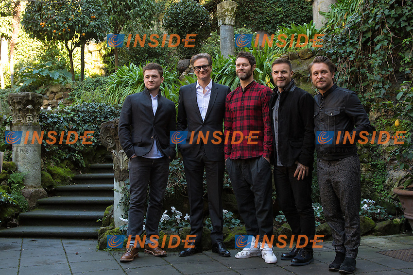 Taron Egerton, Colin Firth, Gary Barlow, Howard Donald and Mark Owen of Take That <br /> Roma 02-02-2015 Hotel De Russie <br /> Kingsman Photocall <br /> Foto Andrea Staccioli / Insidefoto