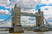 Tower Bridge stands against the clouds in London