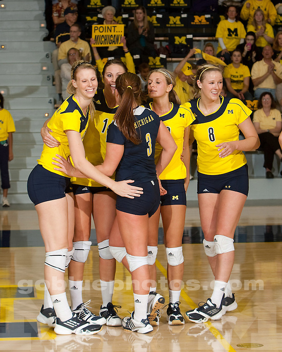 The University of Michigan women's volleyball team defeated Xavier 3-1 at Cliff Keen Arena in Ann Arbor, Mich., on September 16, 2011.