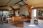 The living room at Frank Lloyd Wright's Hollyhock House in Barnsdall Art Park, Hollywood, Los Angeles, CA
