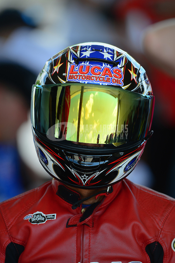 May 4, 2012; Commerce, GA, USA: NHRA pro stock motorcycle rider Hector Arana Sr during qualifying for the Southern Nationals at Atlanta Dragway. Mandatory Credit: Mark J. Rebilas-