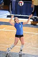 20 November 2008:  Middle Tennessee libero Ashley Waugh (2) serves during the Middle Tennessee 3-0 victory over Arkansas State in the first round of the Sun Belt Conference Championship tournament at FIU Stadium in Miami, Florida.