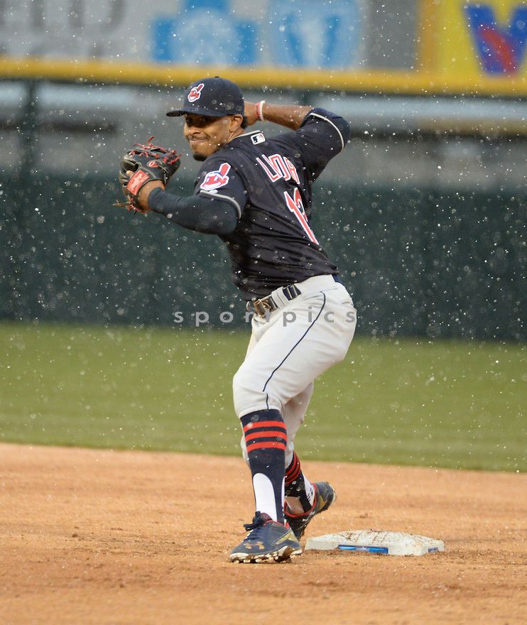 Cleveland Indians Francisco Lindor (12) during a game against the Chicago White Sox on April 8, 2016 at US Cellular Field in Chicago, IL. The Indians beat the White Sox 7-1.