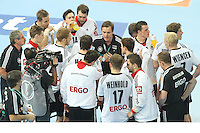 18.01.2013 Barcelona, Spain. IHF men's world championship, prelimanary round. Picture show german team at time out during game between France vs Germany at Palau St Jordi