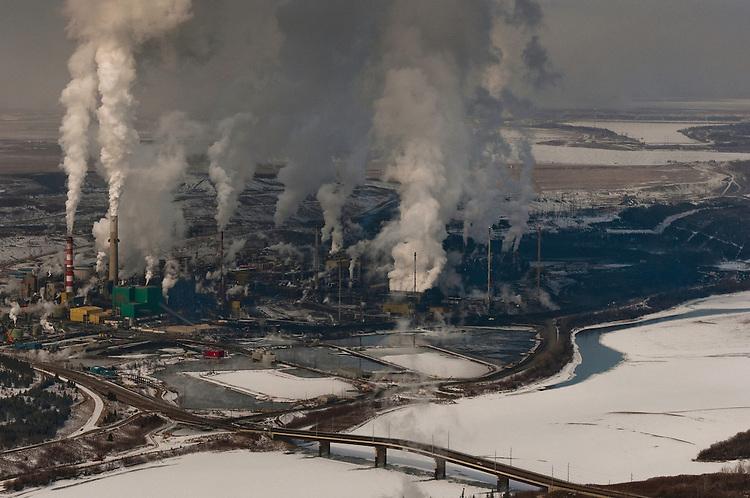 Tar Sands, March 2010. Suncor upgrader. Alberta Athabasca Tar Sands or Oil Sands.