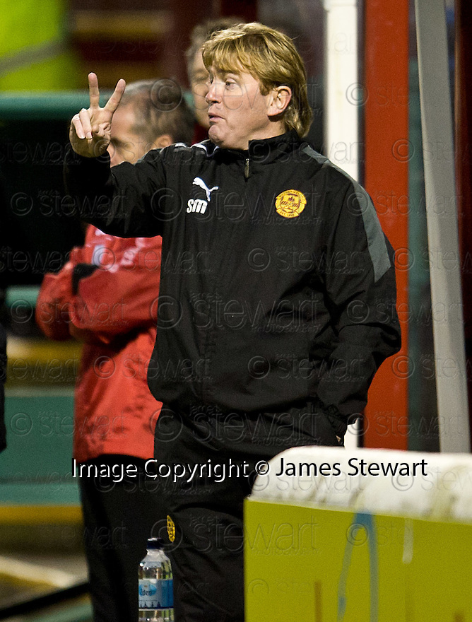MOTHERWELL MANAGER STUART MCCALL ..07/01/2012 sct_jsp018_motherwell_v_queens_park     .Copyright  Pic : James Stewart.James Stewart Photography 19 Carronlea Drive, Falkirk. FK2 8DN      Vat Reg No. 607 6932 25.Telephone      : +44 (0)1324 570291 .Mobile              : +44 (0)7721 416997.E-mail  :  jim@jspa.co.uk.If you require further information then contact Jim Stewart on any of the numbers above.........