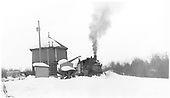 #278 plowing snow to reach Castleton Tank.  Note built up ramp for truckers to load coal into gondolas - left rear.<br /> D&amp;RGW  Castleton - Baldwin Branch, CO  Taken by Richardson, Robert W. - 2/28/1950