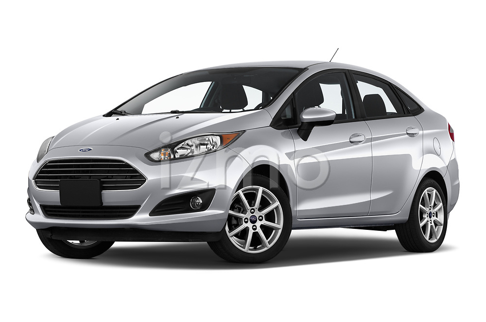 Stock pictures of low aggressive front three quarter view of 2019 Ford Fiesta SE 4 Door Sedan Low Aggressive