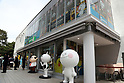 April 27, 2017, Tokyo, Japan - A pop-up cafe and character goods shop featuring Japanese SNS giant LINE's famous characters stnads near Shinjuku station in Tokyo on Thursday, April 27, 2017. The Shinjuku Box, run by Mitsukoshi Isetan Transit, will open cafes of Taiwan's ice dessert shop Ice Monster and US chocolate shop Max Brenner using LINE characters and LINE's character goods shop from April 28.   (Photo by Yoshio Tsunoda/AFLO) LwX -ytd-