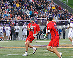 Rob Schotta (#23) passes the ball on a Richmond clear as UAlbany Men's Lacrosse defeats Richmond 18-9 on May 12 at Casey Stadium in the NCAA tournament first round.