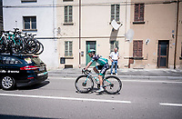 Jay McCarthy (AUS/BORA-hansgrohe) returning after a crash<br /> <br /> Stage 11: Carpi to Novi Ligure (221km)<br /> 102nd Giro d'Italia 2019<br /> <br /> ©kramon