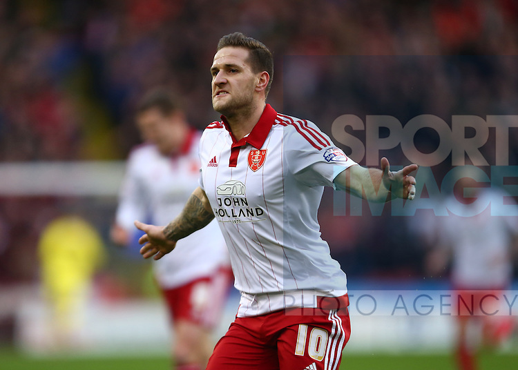 Sheffield United's Billy Sharp celebrates scoring the opening goal - Sheffield United vs Bradford City - Skybet League One - Bramall Lane - Sheffield - 28/12/2015 Pic Philip Oldham/SportImage
