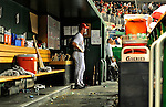21 June 2010: Washington Nationals' rookie starting pitcher Stephen Strasburg watches his team from the dugout during a game against the Kansas City Royals at Nationals Park in Washington, DC. The Nationals edged out the Royals 2-1 in the first game of their 3-game interleague series, snapping a 6-game losing streak. Mandatory Credit: Ed Wolfstein Photo