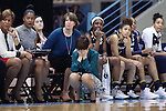 22 January 2017: Notre Dame head coach Muffet McGraw covers her face. The University of North Carolina Tar Heels hosted the University of Notre Dame Fighting Irish at Carmichael Arena in Chapel Hill, North Carolina in a 2016-17 NCAA Division I Women's Basketball game. Notre Dame won the game 77-55