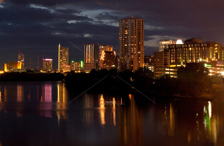 Austin Skyline reflection on the calm waters of Town Lake
