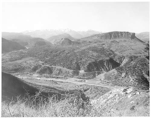 Wide-angle view of West Durango and Perrins Peak from west.<br /> RGS  West Durango, CO  Taken by Payne, Andy M. - 4/16/1972