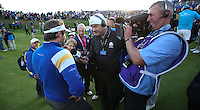 Victor Dubuisson (EUR) being interviewed on the last hole as Europe complete a 16.5 11.5 win against the USA team during Sunday's Singles at the 2014 Ryder Cup from Gleneagles, Perthshire, Scotland. Picture:  David Lloyd / www.golffile.ie
