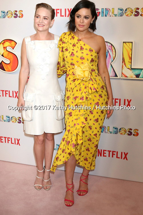 """LOS ANGELES - APR 17:  Britt Robertson, Sophia Amoruso at the """"Girlboss"""" Premiere Screening at ArcLight Theater on April 17, 2017 in Los Angeles, CA"""