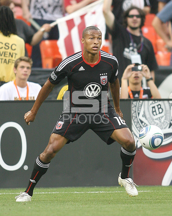 Jordan Graye #16 of D.C. United during an MLS match against Real Salt Lake at RFK Stadium, on June 5 2010 in Washington DC. The game ended in a 0-0 tie.