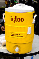 Yellow igloo water cooler dispenser. Special Olympics U of M Bierman Athletic Complex. Minneapolis Minnesota USA