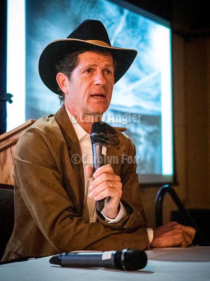 John Langmore, keynote during the Friday symposium at STW XXXI, Winnemucca, Nevada, April 12, 2019.<br /> .<br /> .<br /> .<br /> .<br /> @shootingthewest, @winnemuccanevada, #ShootingTheWest, @winnemuccaconventioncenter, #WinnemuccaNevada, #STWXXXI, #NevadaPhotographyExperience, #WCVA