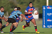 Sione Tuapolutu heads upfield for Ardmore Marist. Counties Manukau Premier Club Rugby game between Ardmore Marist and Weymouth, played at Bruce Pulman Park on May 14th 2016. Ardmore Marist won the game 43 - 7 after leading 17 - 0 at halftime. Photo by Richard Spranger.