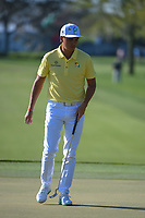 Rickie Fowler (USA) drains his par putt on 1 during round 3 of the Arnold Palmer Invitational at Bay Hill Golf Club, Bay Hill, Florida. 3/9/2019.<br /> Picture: Golffile | Ken Murray<br /> <br /> <br /> All photo usage must carry mandatory copyright credit (&copy; Golffile | Ken Murray)
