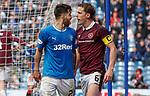 22.04.2018 Rangers v Hearts: Daniel Candeias gives Christophe Berra a tongue lashing