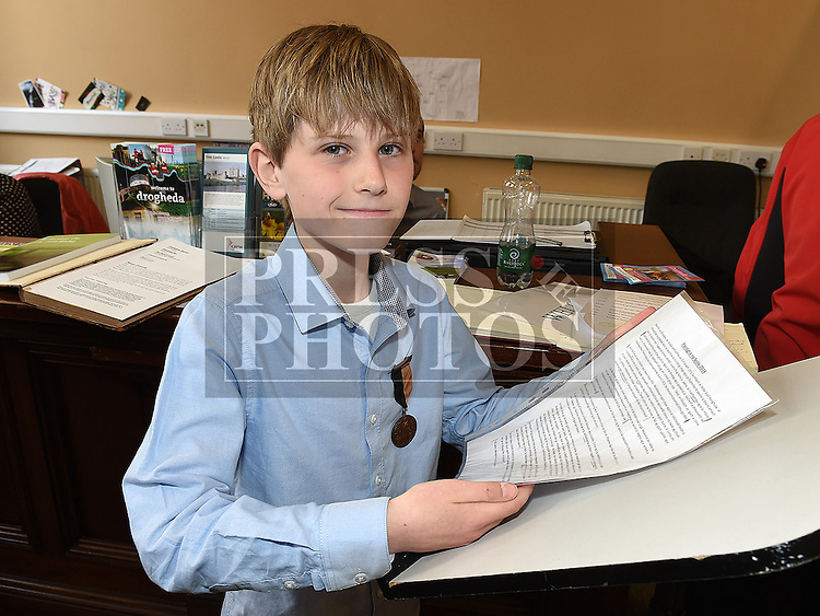 Christian Quinn a student of Scoil Aonghusa Gael scoil Driochead Átha who performed an oration of the 2016 Children's Proclamation at the launch of the book Refelections on the 1916 Rising held in the Tholsel. Photo:Colin Bell/pressphotos.ie
