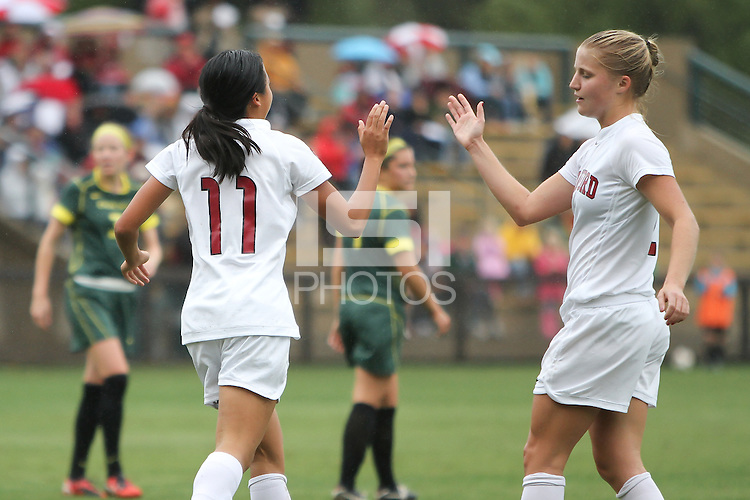 STANFORD, CA:  Rachel Quon and Morgan Redman celebrate Quon's goal during Stanford's 3-0 victory over Oregon at Stanford, California on November 7, 2010.