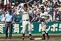 Kotaro Kiyomiya, Yushi Akikawa, AUGUST 8, 2015 - Baseball : 97th Japanese High School Baseball Championship first round match Imabari West 0-6 Waseda Jitsugyo at Hanshin Koshien Stadium in Nishinomiya, Hyogo, Japan. (Photo by BFP/AFLO)