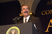 President Vicente Fox of Mexico speaks at the American Jewish Committee Annual Dinner at the National Building Museum in Washington, D.C. on May 3, 2001..Credit: Ron Sachs / Pool via CNP