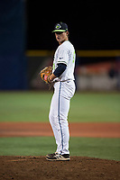 Hillsboro Hops relief pitcher Josh Green (31) gets ready to deliver a pitch during a Northwest League game against the Salem-Keizer Volcanoes at Ron Tonkin Field on September 1, 2018 in Hillsboro, Oregon. The Salem-Keizer Volcanoes defeated the Hillsboro Hops by a score of 3-1. (Zachary Lucy/Four Seam Images)