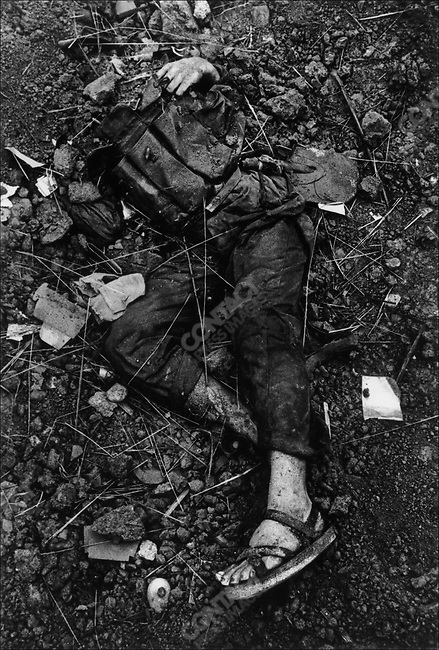 Body of a North Vietnamese soldier, Têt offensive, Battle of Hué, Vietnam, February 1968