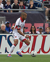 DC United forward Maicon Santos (29) dribbles down the wing. In a Major League Soccer (MLS) match, DC United defeated the New England Revolution, 2-1, at Gillette Stadium on April 14, 2012.