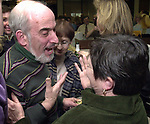 Stan Wolfson and Alice Norkett at champagne get together of Newsday staff in the City room to toast the departure of colleagues on Friday March 1, 2002. (Newsday photo by Jim Peppler).