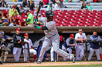 Clinton LumberKings outfielder Greifer Andrade (37) at bat during a Midwest League game against the Wisconsin Timber Rattlers on April 26, 2018 at Fox Cities Stadium in Appleton, Wisconsin. Clinton defeated Wisconsin 7-3. (Brad Krause/Four Seam Images)