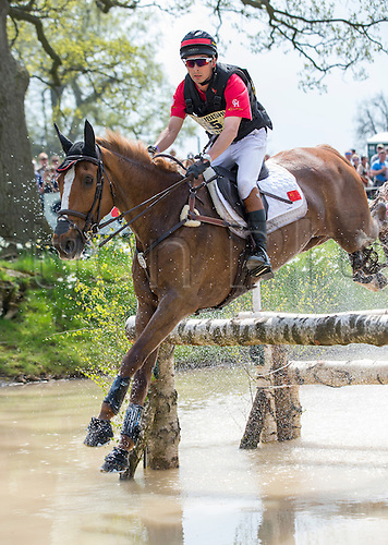 07.05.2016. Badminton House, Badminton, England. Mitsubishi Motors Badminton Horse Trials. Day Four. Alex Hua Tian (CHN) riding 'Harbour Pilot C' during the cross country element of The Mitsubishi Motors Badminton Horse Trials.