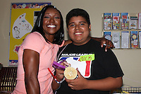 Carmelita Jeter<br /> &quot;Stars 4 Smiles&quot; visiting children at hospital at Harbor-UCLA Medical Center, Torrance, CA 09-16-14<br /> David Edwards/DailyCeleb.com 818-249-4998