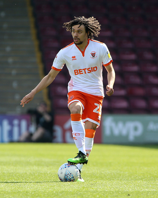 Blackpool's Nya Kirby in action<br /> <br /> Photographer David Shipman/CameraSport<br /> <br /> The EFL Sky Bet League One - Scunthorpe United v Blackpool - Friday 19th April 2019 - Glanford Park - Scunthorpe<br /> <br /> World Copyright © 2019 CameraSport. All rights reserved. 43 Linden Ave. Countesthorpe. Leicester. England. LE8 5PG - Tel: +44 (0) 116 277 4147 - admin@camerasport.com - www.camerasport.com