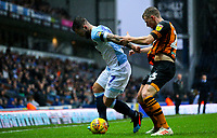 Blackburn Rovers' Adam Armstrong holds off the challenge from Hull City's Stephen Kingsley<br /> <br /> Photographer Alex Dodd/CameraSport<br /> <br /> The EFL Sky Bet Championship - Blackburn Rovers v Hull City - Saturday 26th January 2019 - Ewood Park - Blackburn<br /> <br /> World Copyright © 2019 CameraSport. All rights reserved. 43 Linden Ave. Countesthorpe. Leicester. England. LE8 5PG - Tel: +44 (0) 116 277 4147 - admin@camerasport.com - www.camerasport.com
