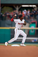 Rochester Red Wings second baseman Nick Gordon (1) throws to first base during an International League game against the Pawtucket Red Sox on June 28, 2019 at Frontier Field in Rochester, New York.  Pawtucket defeated Rochester 8-5.  (Mike Janes/Four Seam Images)