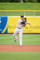 Josh Rutledge (8) of the Salt Lake Bees in action against the Tacoma Rainiers in Pacific Coast League action at Smith's Ballpark on May 7, 2015 in Salt Lake City, Utah. The Bees defeated the Rainiers 11-4 in the completion of the game that was suspended due to weather on May 6, 2015. (Stephen Smith/Four Seam Images)