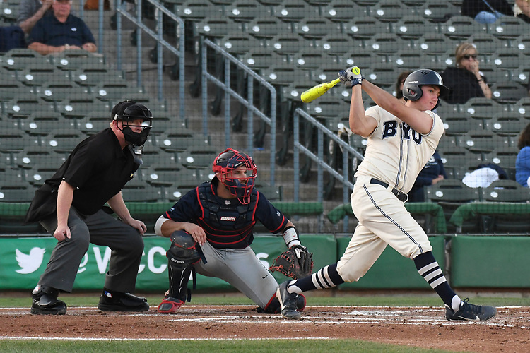 May 27, 2017; Stockton, CA, USA; BYU Cougars catcher David Clawson during the WCC Baseball Championship at Banner Island Ballpark.