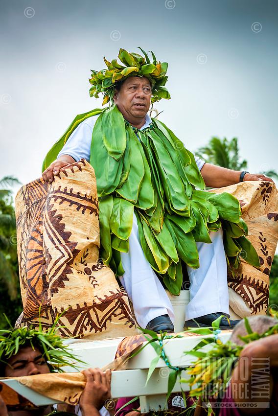 Makirau Haurua in traditional costume during his investiture with the Teurukura Ariki title, Aitutaki Island, Cook Islands.