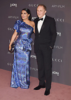 LOS ANGELES, CA - NOVEMBER 04: Actor Salma Hayek (L) and husband Francois-Henri Pinault attend the 2017 LACMA Art + Film Gala Honoring Mark Bradford and George Lucas presented by Gucci at LACMA on November 4, 2017 in Los Angeles, California.<br /> CAP/ROT/TM<br /> &copy;TM/ROT/Capital Pictures