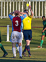 Whitehill's Ryan McKenzie receives his second yellow and is sent off.