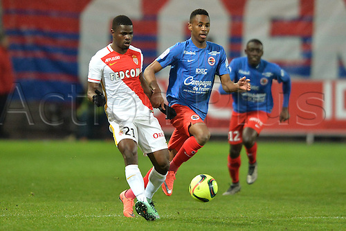 04.03.2016. Caen, France. French League 1 football. Caen versus Monaco.  Elderson ECHIEJILE (mon) challenged by Jordan NKOLOLO (caen)