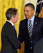 "United States President Barack Obama, right, shakes hands with Secretary of the Treasury Timothy Geithner, left, as he names White House Chief of Staff Jacob ""Jack"" Lew (not pictured) to replace Geithner in the East Room of the White House in Washington, D.C. on Thursday, January 10, 2013..Credit: Ron Sachs / CNP"