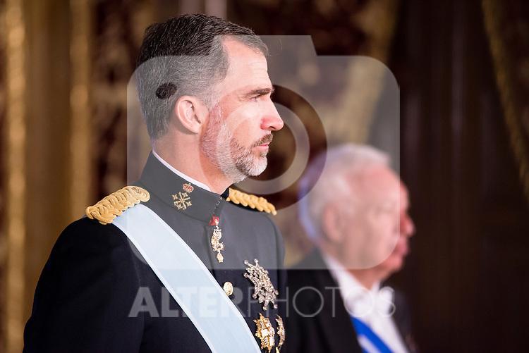 Ambassador of Perú SR. Rafael Roncagliolo Orbegoso present his credentials to King Felipe VI of Spain during royal audiences at Zarzuela Palace in Madrid, July 27, 2015. <br /> (ALTERPHOTOS/BorjaB.Hojas)